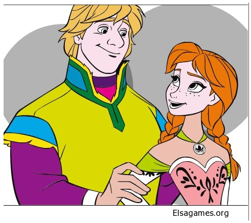 Anna and Kristoff in Love Coloring